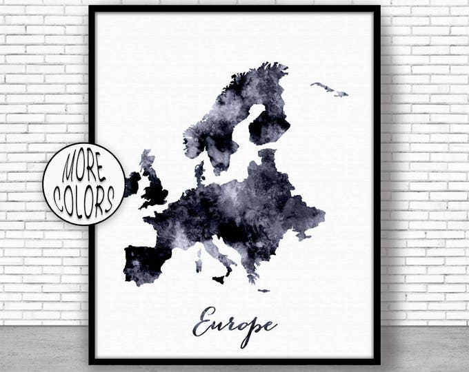 Europe Map Europe Print Europe Continent Map of Europe Map Wall Art Print Travel Map Travel Decor Office Decor Office Wall ArtGift for Women
