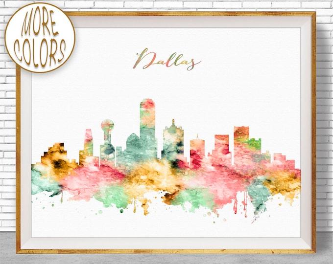 Dallas Texas Dallas Print Dallas Skyline Dallas Art City Wall Art Office Art Watercolor Skyline Watercolor City Print ArtPrintZone