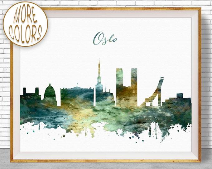 Oslo Print, Oslo Skyline, Oslo Norway, City Wall Art, Office Prints, Travel Art, Skyline Art, Office Poster, ArtPrintZone