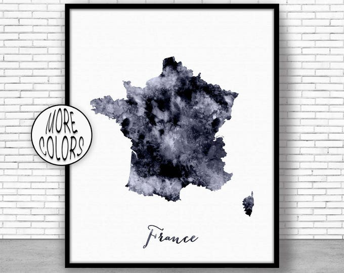 France Print Watercolor Map France Map Art Map Painting Map Artwork  Office Decorations Country Map ArtPrintZone