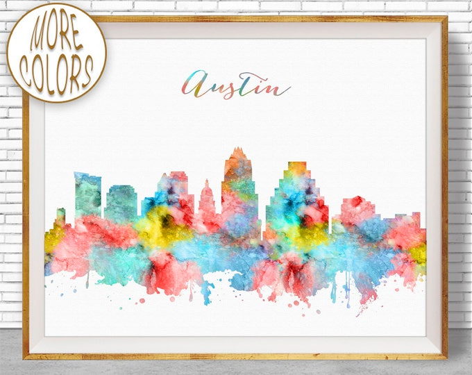 Austin Texas Austin Art Print Austin Skyline Office Decor Office Art Travel Poster Watercolor City Print ArtPrintZone Christmas Gifts