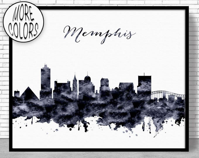 Memphis Print Memphis Skyline Memphis Tennessee Office Decor Office Art City Skyline Prints Skyline Art ArtPrintZone