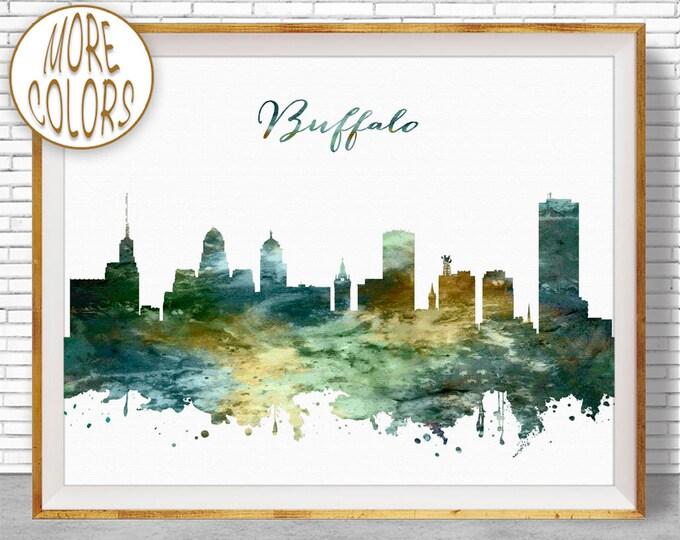 Buffalo Print Buffalo Skyline Buffalo NY Office Decor Office Art Watercolor Skyline Watercolor City Posters ArtPrintZoneGift for Women
