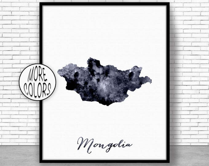 Mongolia Print Mongolia Art Print Watercolor Print Mongolia Map Decor Wall Art Prints ArtPrintZone