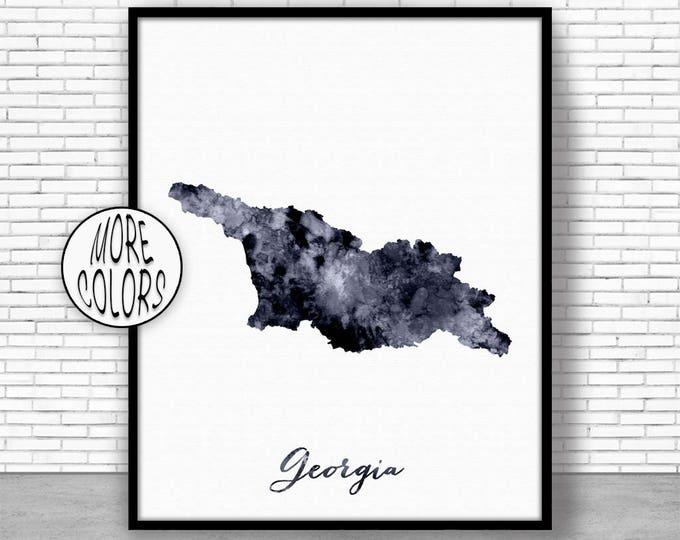Georgia Print Watercolor Map Georgia Map Art Map Painting Map Artwork  Office Decorations Country Map ArtPrintZone