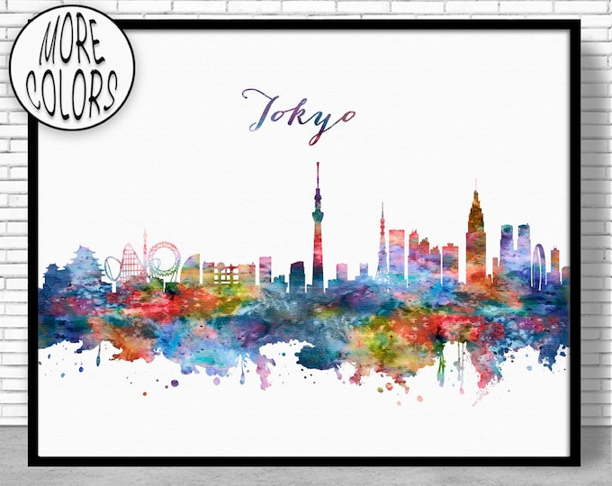 Tokyo Print, Tokyo Skyline, Tokyo Japan, Office Decor, Office Art, Watercolor Skyline, Watercolor City Prints, ArtPrintZone
