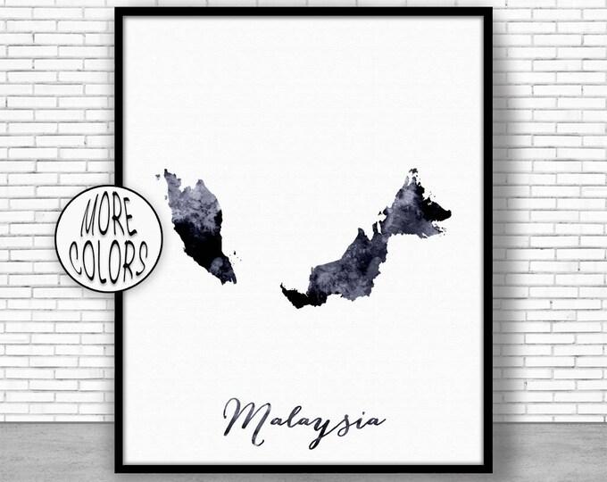 Malaysia Print Malaysia Art Print Watercolor Print Malaysia Map Decor Wall Art Prints ArtPrintZone