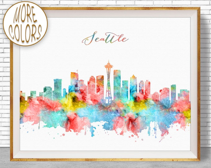Seattle Art Seattle Skyline Seattle Print Seattle Washington Office Decor City Skyline Prints City Wall Art ArtPrintZone