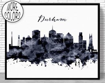 DURHAM CITY SKYLINE bleu encadré Art Imprimé Photo Affiche Artwork