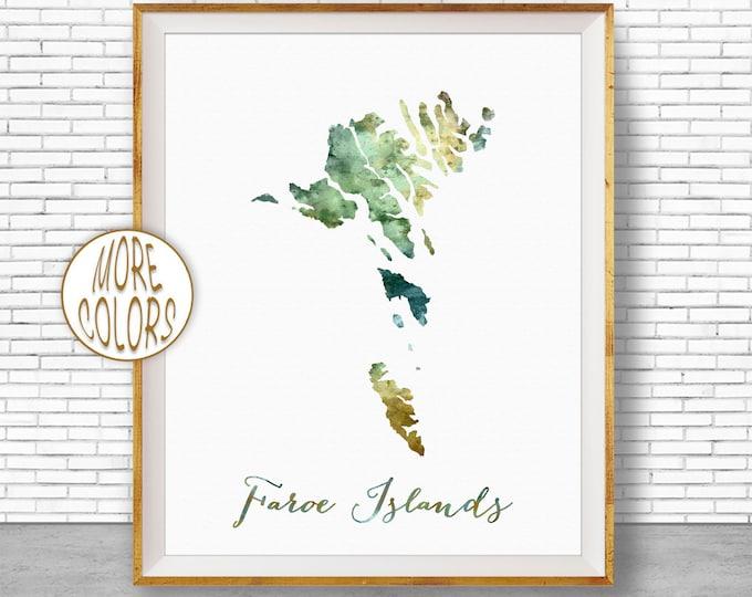 Faroe Islands Map Faroe Islands Print Watercolor Map Map Painting Map Artwork  Office Decorations Country Map ArtPrintZone