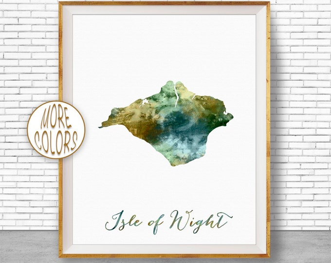 Isle of Wight Map Art Isle of Wight England Isle of Wight Print Isle of Wight Art Painting Office Decorations Country Map ArtPrintZone