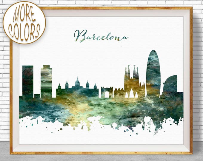Barcelona Spain, Barcelona Skyline, Barcelona Print, Office Decor, Office Art, Watercolor Skyline, Watercolor City Posters, ArtPrintZone