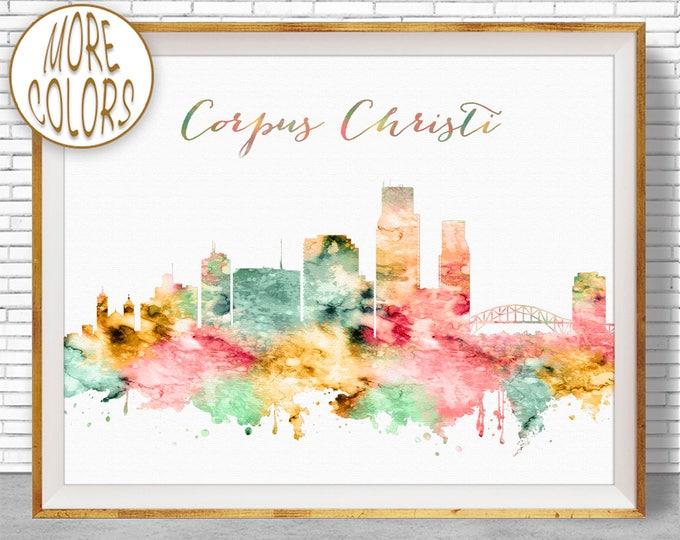 Corpus Christi Print Corpus Christi Texas Corpus Christi Skyline Office Decor Office Art Travel Poster City Poster ArtPrintZone