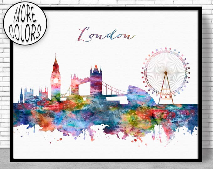 London Skyline London Print London United Kingdom Office Decor Office Art Watercolor Skyline Watercolor City Print ArtPrintZone
