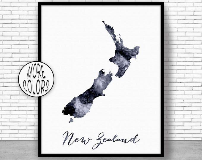 New Zealand Art Print Home Decor New Zealand Map Art Wall Prints Wall Art Home Wall Decor Watercolor Painting ArtPrintZoneGift for Women