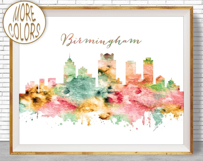 Birmingham Skyline Birmingham Print Birmingham Alabama Office Decor, Office Art, Travel Poster, Watercolor City Posters, ArtPrintZone