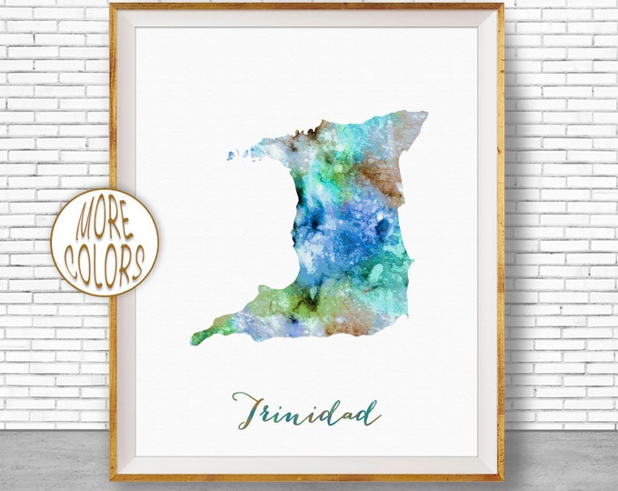 Trinidad Print Trinidad Map Art Office Art Print Watercolor Map Print Map Art Map Artwork Office Decorations Country Map ArtPrintZone