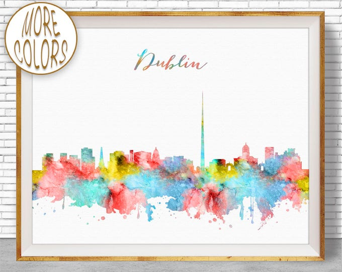 Dublin Print, Dublin Skyline, Dublin Ireland, Office Decor, City Wall Art, Watercolor Skyline, Watercolor City Print, ArtPrintZone