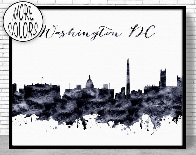 Washington DC Print Washington DC Art Washington DC Skyline City Wall Art City Skyline Prints Office Poster ArtPrintZone