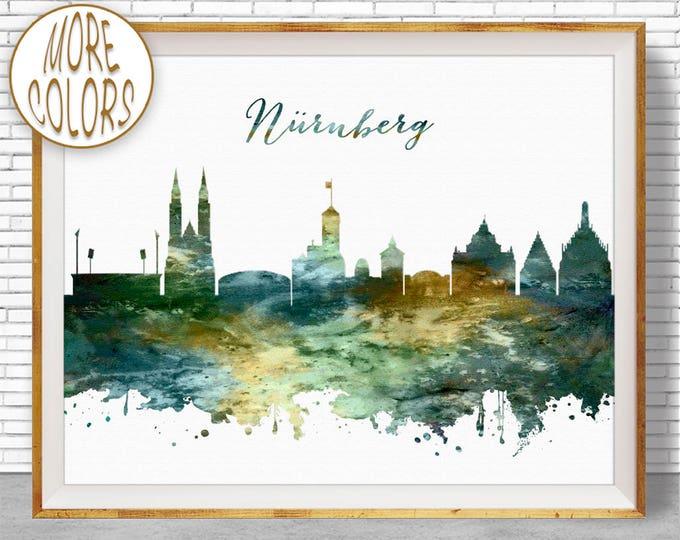 Nurnberg Print, Nurnberg Skyline, Nuremberg Germany, Nurnberg Germany, Office Art, Watercolor Skyline, Watercolor City Print, ArtPrintZone