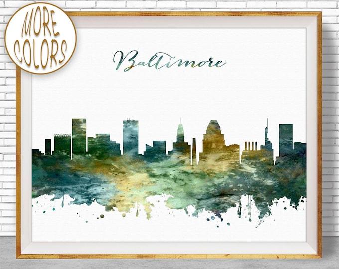 Baltimore Art Baltimore Skyline City Scape Baltimore Maryland Office Prints Office Art City Wall Art Watercolor City Prints ArtPrintZone