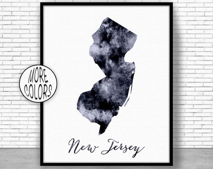 New Jersey Art Print New Jersey Print New Jersey Map Art Print Map Print Map Poster Watercolor Map Office Decor Office Poster ArtPrintZone