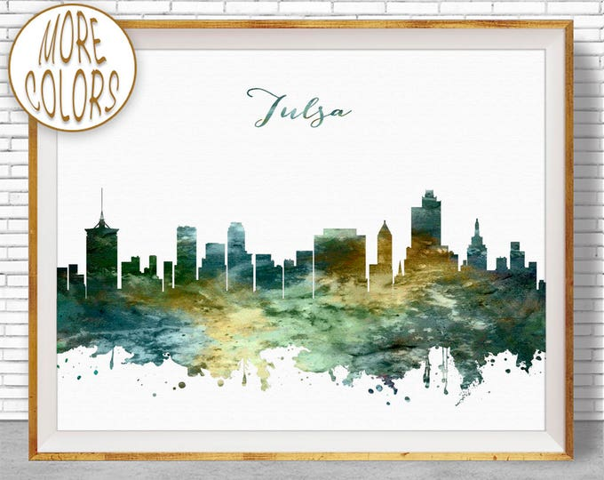 Tulsa Print Tulsa Skyline Tulsa Oklahoma City Wall Art Office Wall Decor City Skyline Prints Skyline Art Office Poster ArtPrintZone