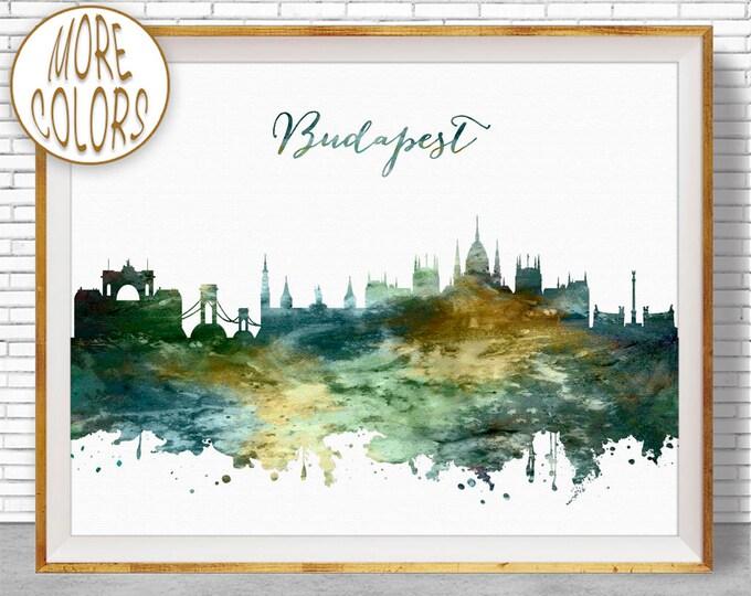 Budapest Skyline, Budapest Print, Budapest Hungary, Office Decor, Office Art, Watercolor Skyline, Watercolor City Prints, ArtPrintZone