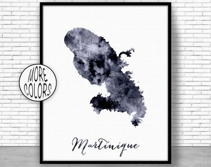 Martinique Print Office Art Print Watercolor Map Martinique Map Print Map Art Map Artwork Office Decorations Country Map ArtPrintZone
