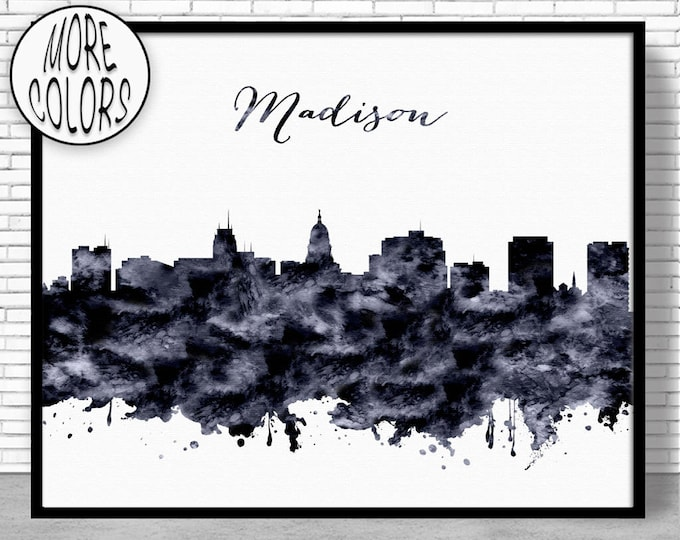 Madison Print Madison Skyline Madison Wisconsin Office Decor Office Art City Skyline Prints Skyline Art ArtPrintZone
