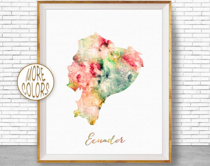Ecuador Map Art Ecuador Print Office Art Print Watercolor Map Map Print Map Artwork Office Decorations Country Map ArtPrintZone