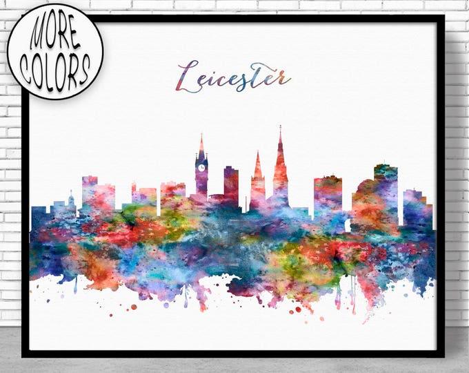 Leicester Print, Leicester Skyline, Leicester Art Office Decor, City Wall Art, City Skyline Prints, Skyline Art, Cityscape Art, ArtPrintZone