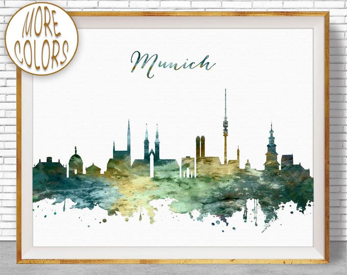 Munich Print, Munich Skyline, Munich Germany, Office Decor, Office Art, Watercolor Skyline, Watercolor City Print, ArtPrintZone