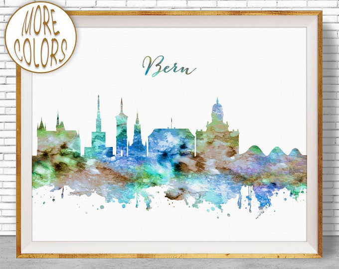 Bern Print, Bern Skyline, Bern Switzerland, Office Decor, Office Art, Watercolor Skyline, Watercolor City Prints, ArtPrintZone