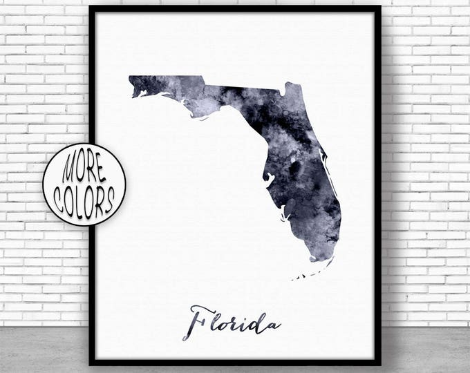 Florida Art Print Florida Decor Florida Print Florida Map Art Print Map Artwork Map Print Map Poster Watercolor Map ArtPrintZone