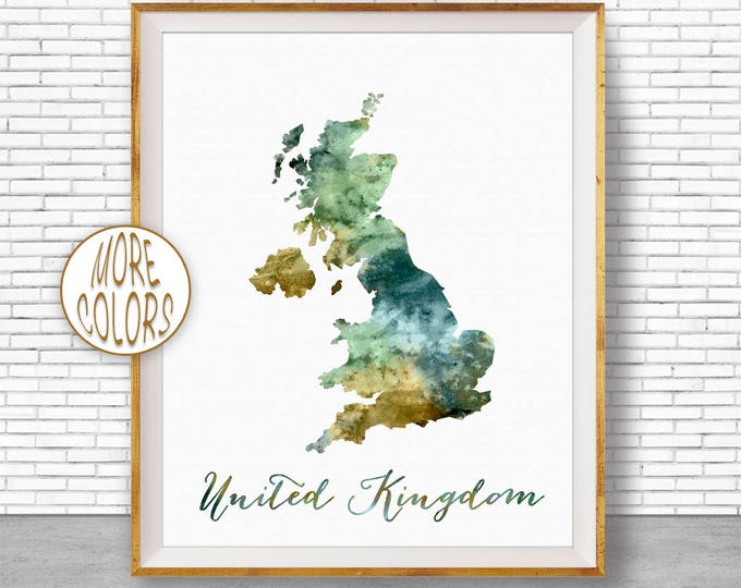 United Kingdom Map Art United Kingdom Print UK Print Watercolor Map  Office Decorations Country Map ArtPrintZone