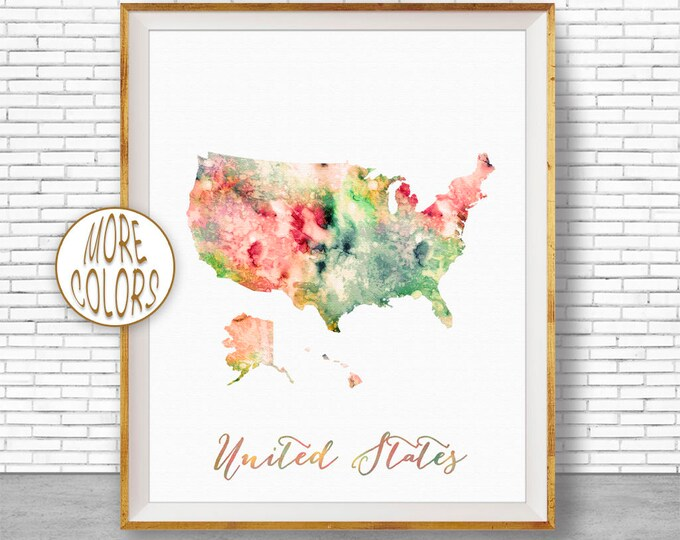 Map of USA United States Map Map Art Print Office Print Map Print Map Poster Watercolor Map Office Poster Office Art ArtPrintZone 1