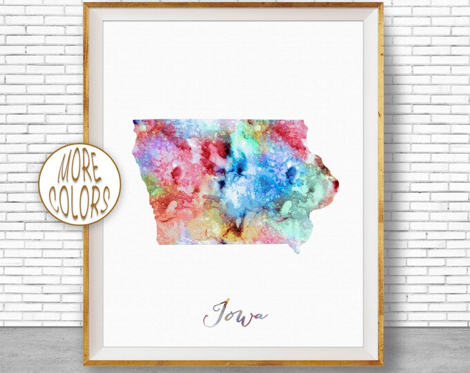 Iowa Print Iowa Art Print Iowa Decor Iowa Map Art Print Map Artwork Map Print Map Poster Watercolor Map ArtPrintZone
