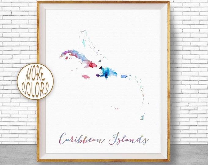 Caribbean Islands Map Caribbean Print Caribbean Art Print Wall Prints Wall Art Home Wall Decor Watercolor Painting ArtPrintZone