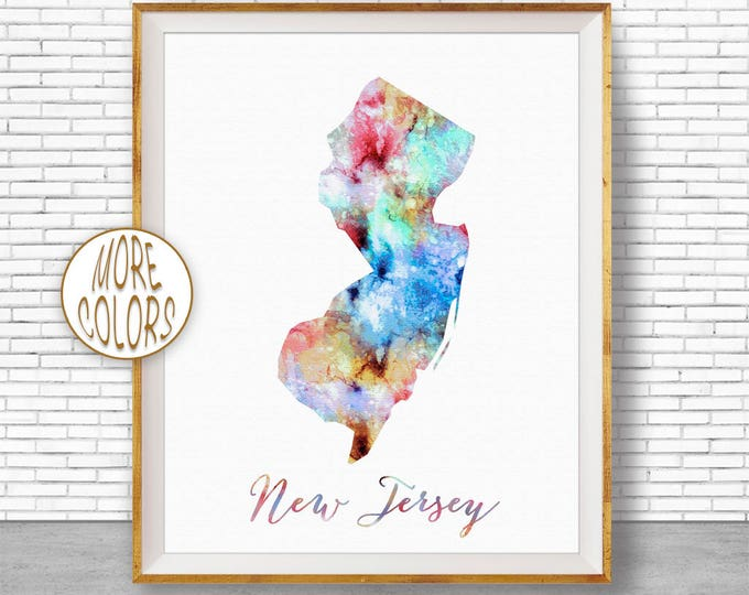New Jersey Print New Jersey Art Print New Jersey Map Art Print Map Print Map Poster Watercolor Map Office Decor Office Poster ArtPrintZone