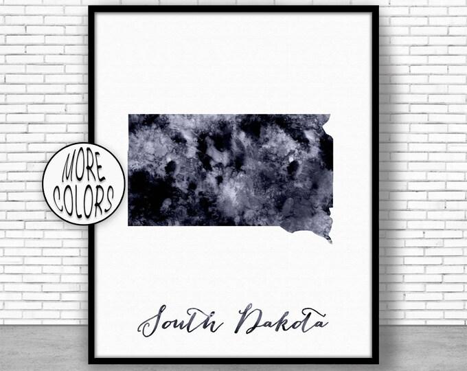 South Dakota Art South Dakota Print South Dakota Map Art Print Map Print Map Poster Watercolor Map Office Decor Office Poster ArtPrintZone