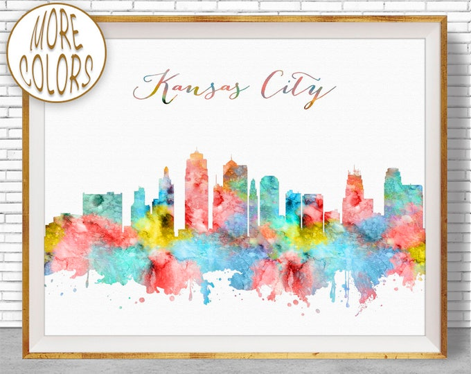 Kansas City Art Kansas City Print Kansas City Skyline Kansas City Missouri Office Art Watercolor Skyline City Prints ArtPrintZone