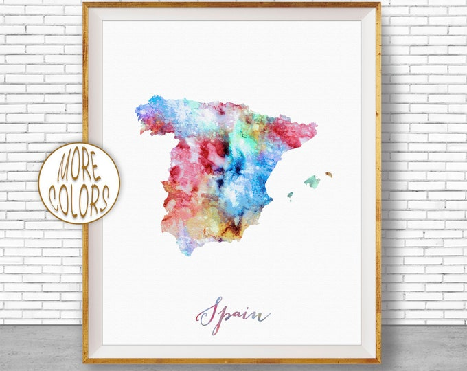 Spain Print Watercolor Map Spain Map Art Map Painting Map Artwork  Office Decorations Country Map ArtPrintZone