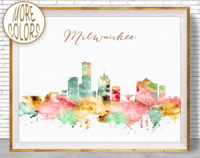 Milwaukee Print Milwaukee Art Milwaukee Skyline Milwaukee Wisconsin City Skyline Prints Skyline Art ArtPrintZone