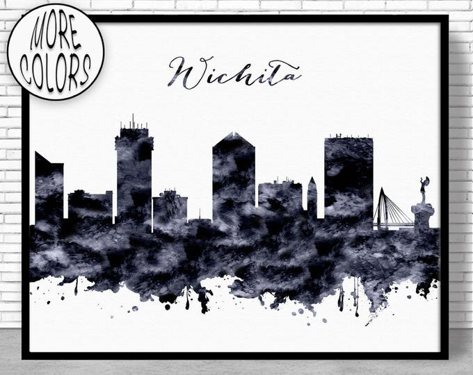Wichita Print Wichita Skyline Wichita Kansas Office Decor Office Poster Skyline Art ArtPrintZone