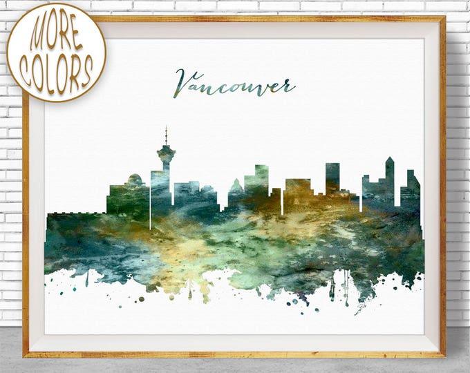 Vancouver Print, Vancouver Skyline, Vancouver Canada, Office Wall Art, City Skyline Prints, Skyline Art, Cityscape Art, ArtPrintZone