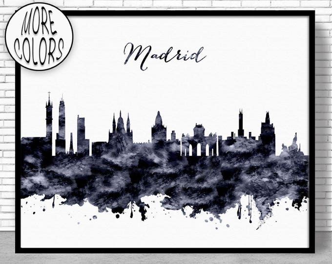 Madrid Print Madrid Skyline Madrid Spain Office Decor Office Art City Skyline Prints Skyline Art ArtPrintZone