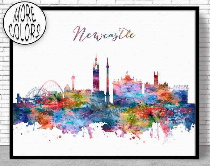Newcastle Print, Newcastle Skyline Newcastle United Kingdom Office Decor Office Art, Watercolor Skyline, Watercolor City Print, ArtPrintZone