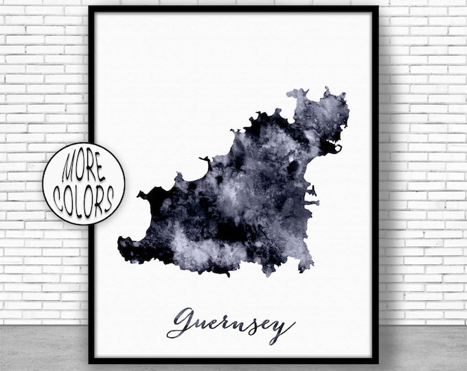 Guernsey Print Watercolor Map Guernsey Map Art Map Painting Map Artwork  Office Decorations Country Map ArtPrintZone