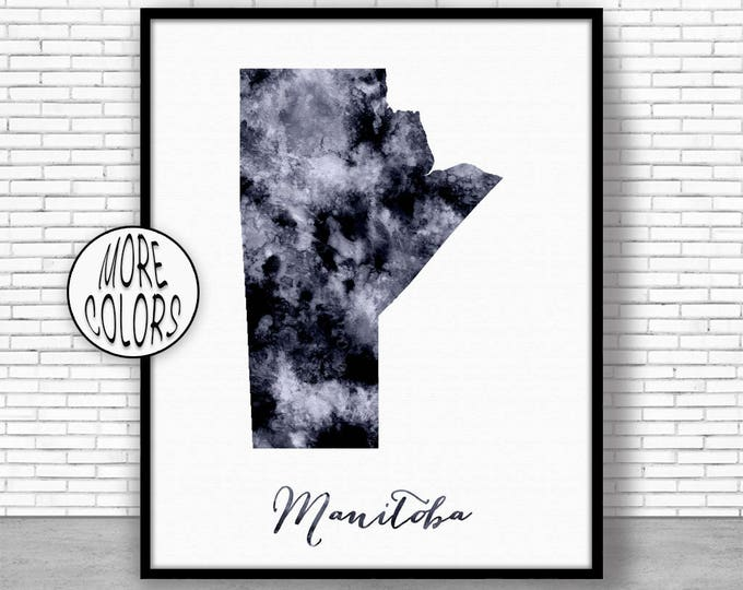 Manitoba Print Office Art Print Watercolor Map Manitoba Map Print Map Art Map Artwork Office Decorations Country Map ArtPrintZone
